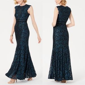 Nightway green sparkle glittering lace gown